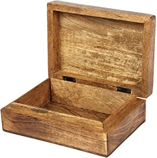 Aheli Wooden Keepsake Box OM Design Carved Jewelry Trinket Storage Chest Organizer for Women Girls