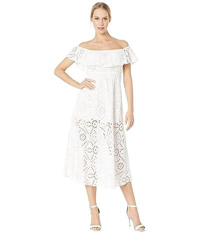 Flynn Skye Brenna Midi Eyelet Dress (White Eyelet) Women