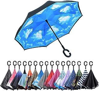 AWEOODS Inverted Umbrella Windproof Reverse Folding Double Layer Travel Umbrella with C Shape Handle, Sky Blue