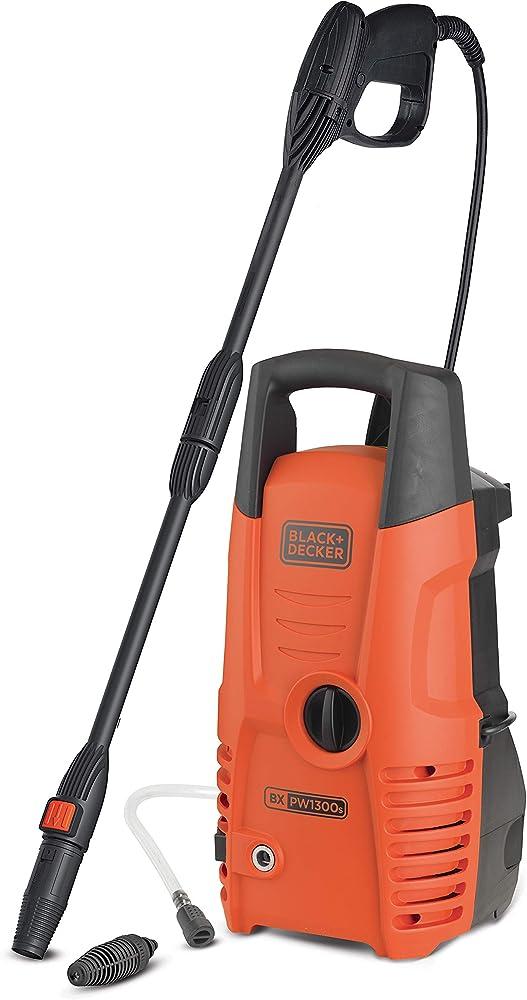 Black+Decker PW1300S Hidrolimpiadora de Alta Presión, 1300 W, Negro y Naranja