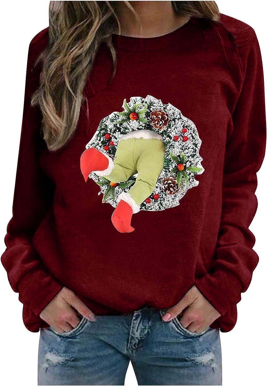 Women's Shirt Stylish Look Casual Christmas Theme Print Long Sleeve Crewneck Pullover Blouse Tops Sweatshirt