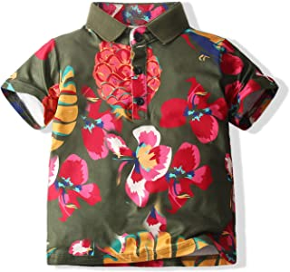 Baby Boys Casual Cartoon Print Tee Button Down Slim-Fit Tops Short Sleeve Aloha Hawaiian Shirt