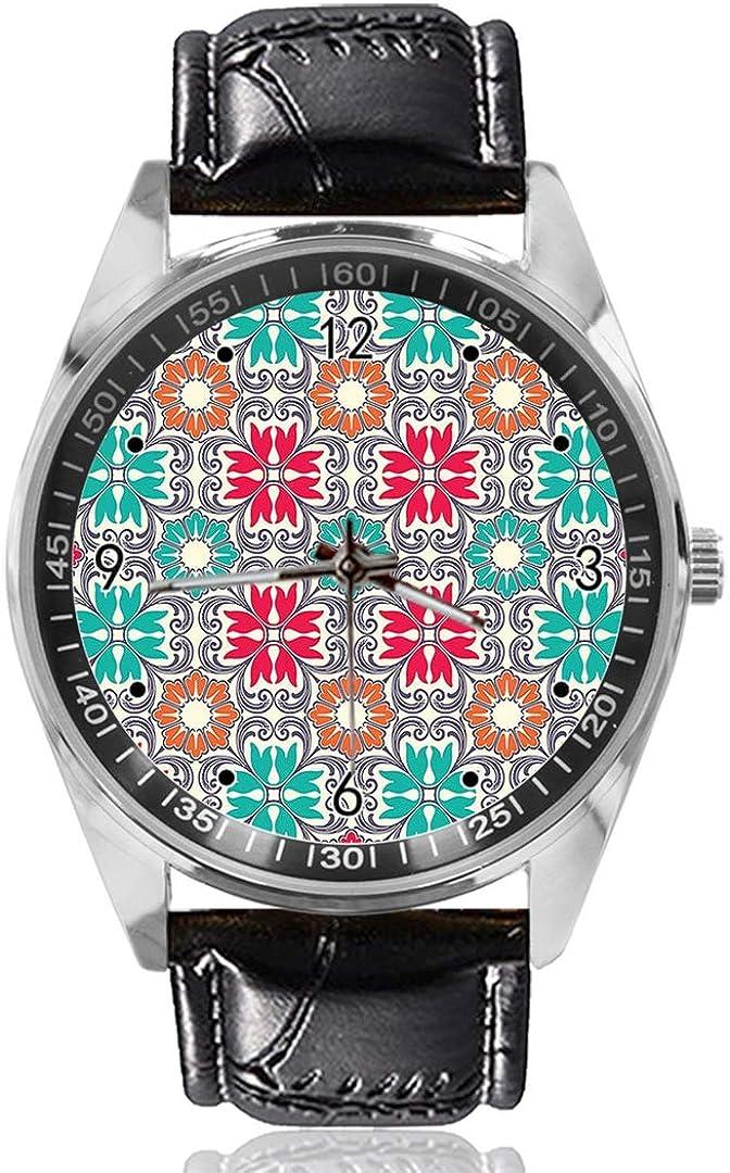 Reloj de Pulsera Oriental con diseño de Flores, analógico, de Cuarzo, Esfera Plateada, Correa de Piel clásica, para Hombre y Mujer