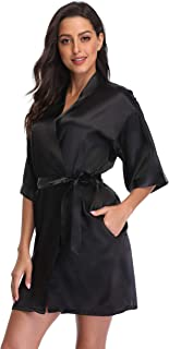 season dressing Women Satin Plain Short Kimono Bridesmaid Bathrobe Wedding Party Robe