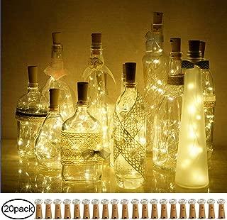 Decem Wine Bottle Cork Lights, 20 Pack 20 LED Warm White Cork Shape Silver Copper Wire LED Starry Fairy Mini String Lights for DIY/Decor/Party/Wedding/Christmas/Halloween (Warm White)