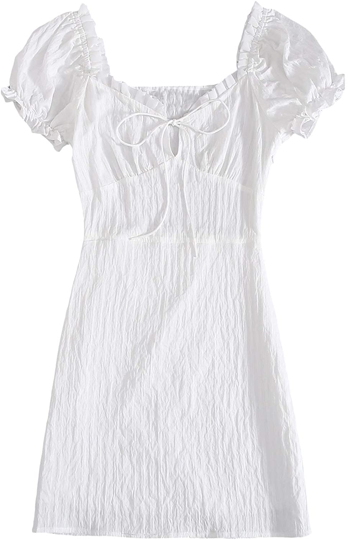 SheIn Women's Summer Ruffle Short Sleeve Tie V Neck Mini Bodycon Dress