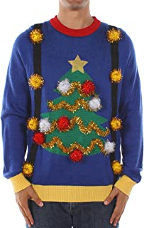 Tipsy Elves Men's Tacky Christmas Sweater - Christmas Tree Sweater with Suspenders