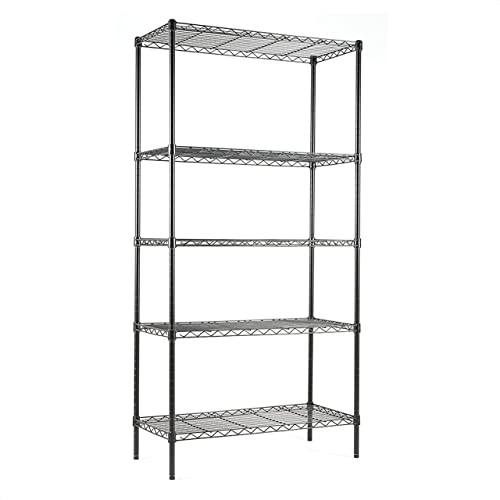 EFINE USA 5-Shelf Shelving Unit, Adjustable, Heavy Duty Carbon Steel Wire Shelves, 150lbs Loading Capacity Per Shelf, Shelving Units and Storage for Kitchen and Garage (30W x 14D x 60H) Black