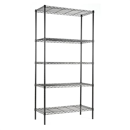 Amazon Com Simple Deluxe Hkshlf29146105g Heavy Duty 5 Shelf Shelving Unit 29 D X 14 W X 61 H 5 Tier Black Kitchen Dining