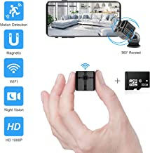 Ehomful Mini Spy Camera WiFi 1080P HD, Wireless Hidden Camera for Home, Portable Small Security Cameras Body Camera with App, Night Vision and Motion Detective Nanny Cam with 32GB MicroSD Card Class10