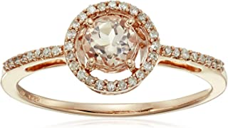 10kt Rose Gold 5mm Round Morganite and 1/10cttw Natural White Diamond Halo Ring