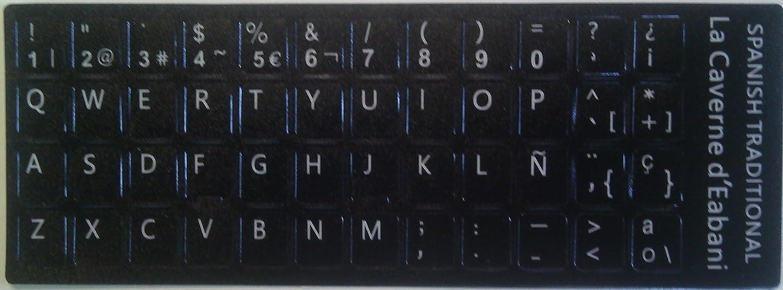 WINJEE, Etiqueta Duradera con Teclado en español, Fondo Negro con Letras en Blanco para Accesorios de computadora de computadoras portátiles
