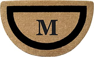 """Heavy Duty 22"""" x 36"""" Coco Mat, Black Single Picture Frame Monogrammed M, Half Round"""