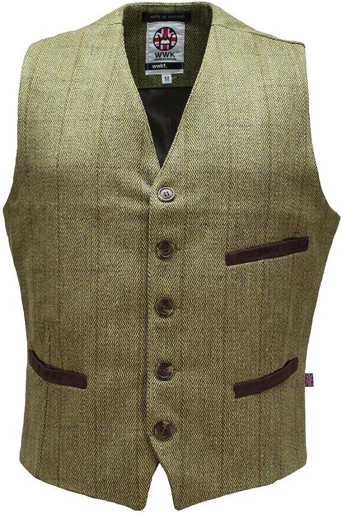 WWK / WorkWear King Mens Tweed Herringbone Vest Waistcoat Wool Vintage Slim Fit