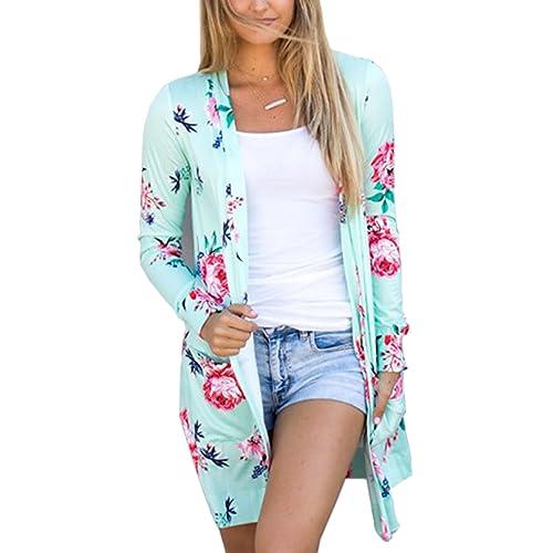 b702936a8f7 ECOWISH Womens Boho Irregular Long Sleeve Wrap Kimono Cardigans Casual  Coverup Coat Tops Outwear S-