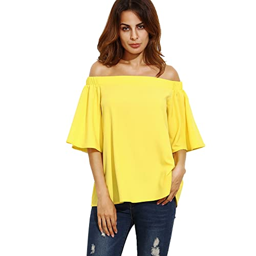 f4480249ef23 Romwe Womens Off The Shoulder Ruffle Half Sleeve Blouse