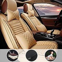 Asientos de Auto de para automóvil Cubiertas Juego Completo de 5 Asientos Universal para V W Touareg Hybrid con reposacabezas y cojín Lumbar Beige
