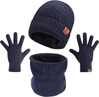 Maylisacc Winter 3Pcs in 1 Warm Thick Knit Beanie Hat Scarf and Touchscreen Driving Gloves Set for Men