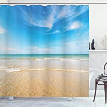 Ambesonne Ocean Shower Curtain, Sea and Sky Landscape at Beach in Tropical Exotic Hawaiian Caribbean Lands, Cloth Fabric Bathroom Decor Set with Hooks, 84 Long Extra, Cream Blue
