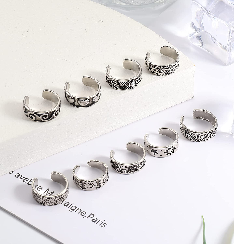 JOERICA 9PCS Adjustable Toe Rings for Women Vintage Open Cuff Toe Ring Set Foot Jewelry