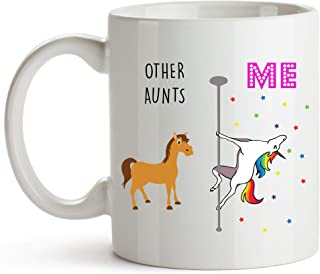 YouNique Designs Aunt Coffee Mug, 11 Ounces, Unicorn Mug, Auntie Cup from Niece and Nephew