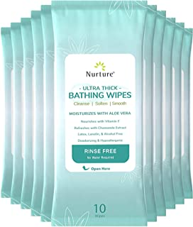 Ultra-Thick Rinse Free Bathing Wipes (12 pack) | 120 Extra Large and Thick Adult Wash Cloths Requiring No Rinse - Latex, L...