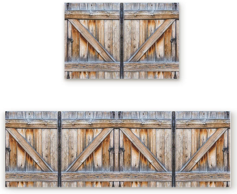 Savannan 2 Piece Non-Slip Kitchen Bathroom Entrance Mat Absorbent Durable Floor Doormat Runner Rug Set - Rustic Old Wooden Barn Door