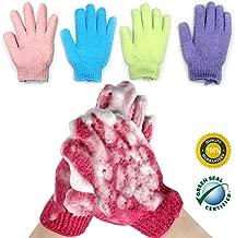 Exfoliating Body Gloves Bath Wash Mitts Skin Massage Deep Cleansing Dead Skin Brush Scrub Luxury Spa Scrubber for Men, Women & Kids 4 Pairs (Package-002)