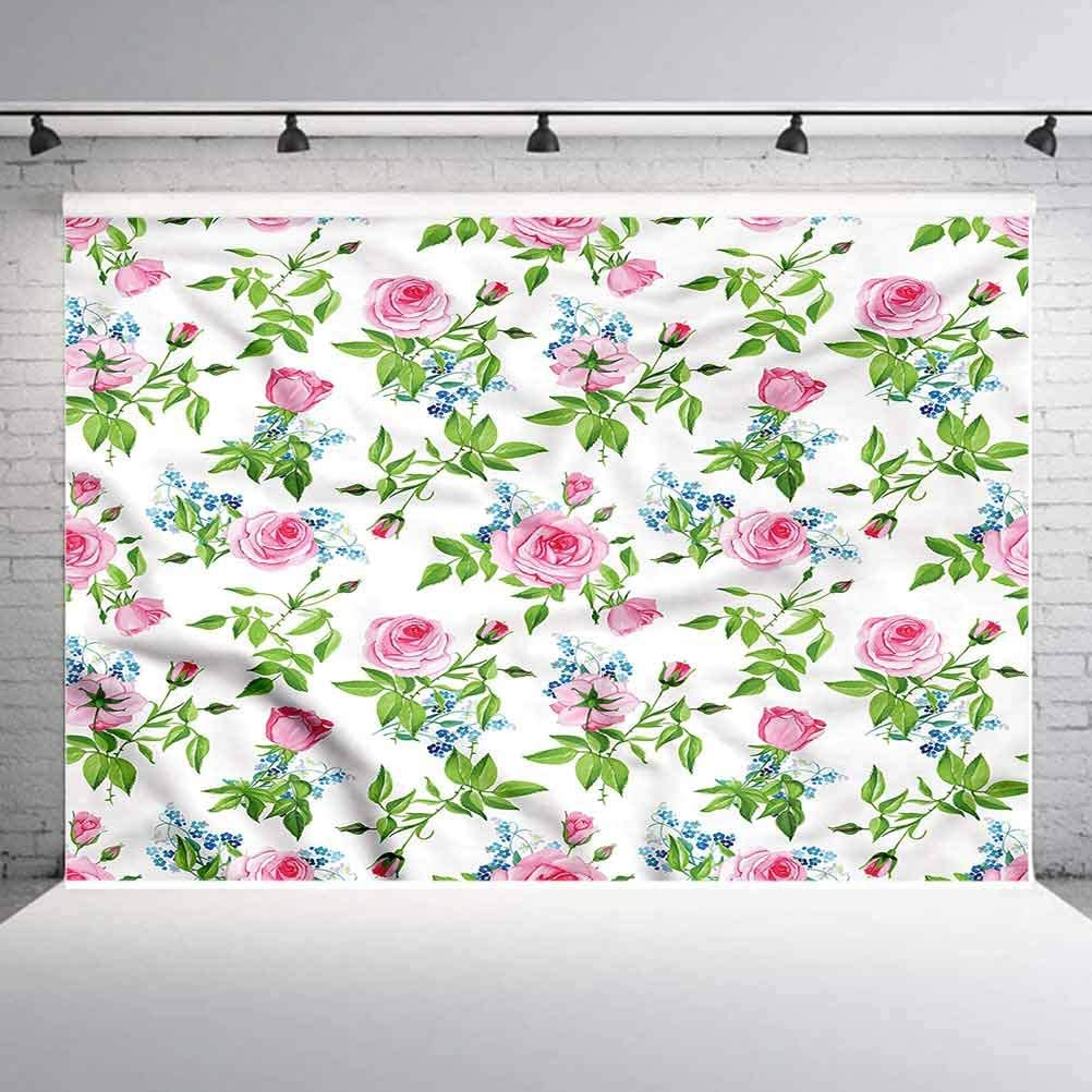 7x7FT Vinyl Photography Backdrop,Floral,Hand Drawn Petals Dots Photo Background for Photo Booth Studio Props