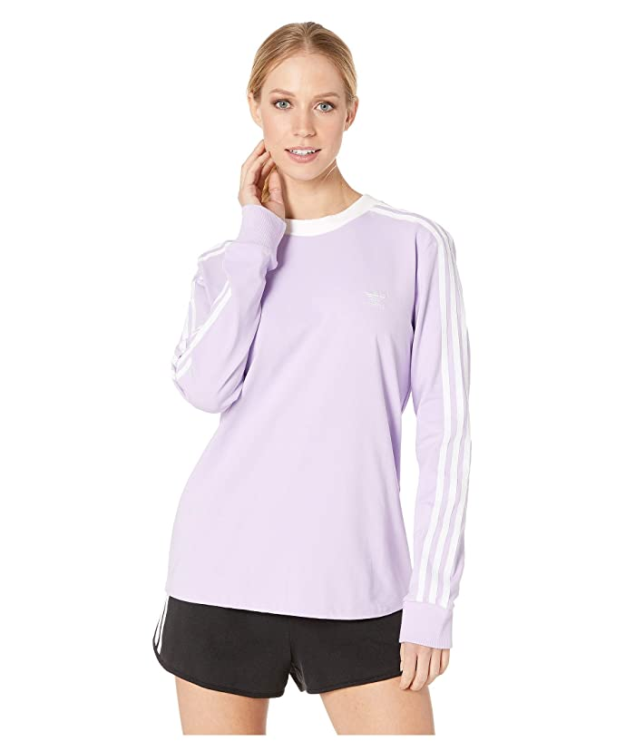 adidas Originals 3-Stripes Long Sleeve Tee (Purple Glow) Women