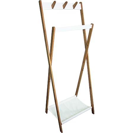 Box and Beyond Portant à vêtements et Chaussures en Bambou, MDF et Polycoton - 6 Crochets / 1 Barre de penderie / 1 étagère - Naturel/Blanc - 155x47x60cm