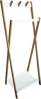 Box and Beyond Portant à vêtements et Chaussures en Bambou, MDF et Polycoton - 6 Crochets / 1 Barre de penderie / 1 étagèr...