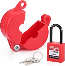 Valve Lockout and Safety Padlock Combination Oil Gas Valve Lock Natural Gas Valve for Chemical Industry, 1-2.5 inch, Red