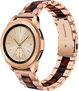 V-MORO Compatible Galaxy Watch 42mm Band Women,20mm Rose Gold Stainless Steel Strap with Tortoise Resin Bracelet Replacement Samsung Galaxy Watch 42mm SM-R810/Gear S2 Classic SM-R732/R735 Smartwatch