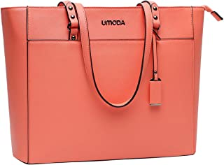 15.6 Inch Laptop Bag for Women,Large Computer Bags for Women,Multi Pocket Work Bag,Laptop Tote Bag with Professional Padded Compartment,Living Coral