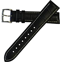 Hirsch Performance George Calfskin Leather Alligator Embossing Watch Band w/ Rubber Lining Blue w/ White Stitching 20mm