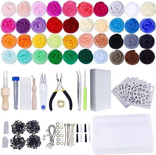Needle Felting Kit,Wool Roving 40 Colors Set,Needle Felting Starter Kit,Wool Felt Tools with Felting Tool Instruction...