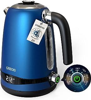 کنترل درجه حرارت کتری برقی GREECHO 1.7L ، دیگ بخار آب گرم دیجیتال 1100W با صفحه نمایش LED ، 7 تنظیمات حرارتی