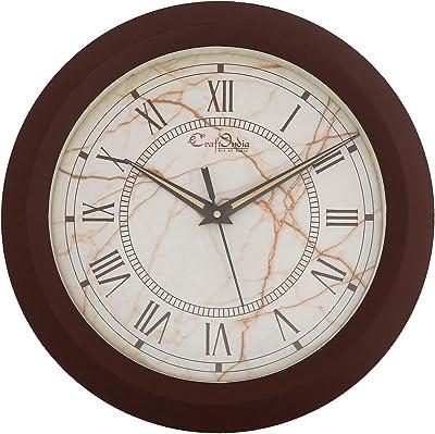 eCraftIndia Designer Round Analog Brown Wall Clock