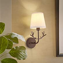 Wall Lamp - Fabric Wall Lamp, Modern Minimalist Rustic Style,Fabric Material Antler Style Lampshade with Wrought Iron Body...