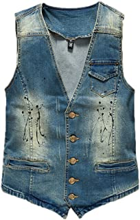 632fd902aa8e Gilet Jeans Uomo Giacca Denim Senza Maniche Giacca Giubbotto Smanicato Denim  Panciotto