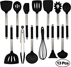 Kitchen Utensil Set Spatula, Cooking Utensils Stainless Steel and Non-Stick Silicone Kitchen Tools (Black-13pcs)