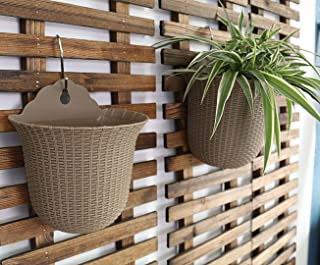 UPIE Wall Mountable Hanging Planter Basket Pots of Flowers Bonsai Plants for Home Garden Office Decoration (4, Brown)