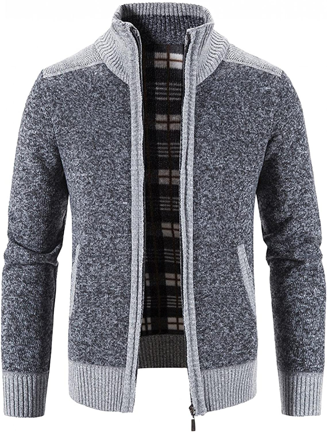 Aayomet Men's Fashion Cardigan Winter Warm Patchwork Zipper Long Sleeve Stand Collar Casual Pullover Tops Blouses Coat