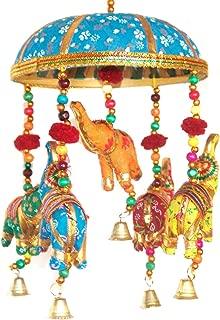 Indian Traditional Elephant Turquoise Umbrella Hanging Layer Of Five Elephant