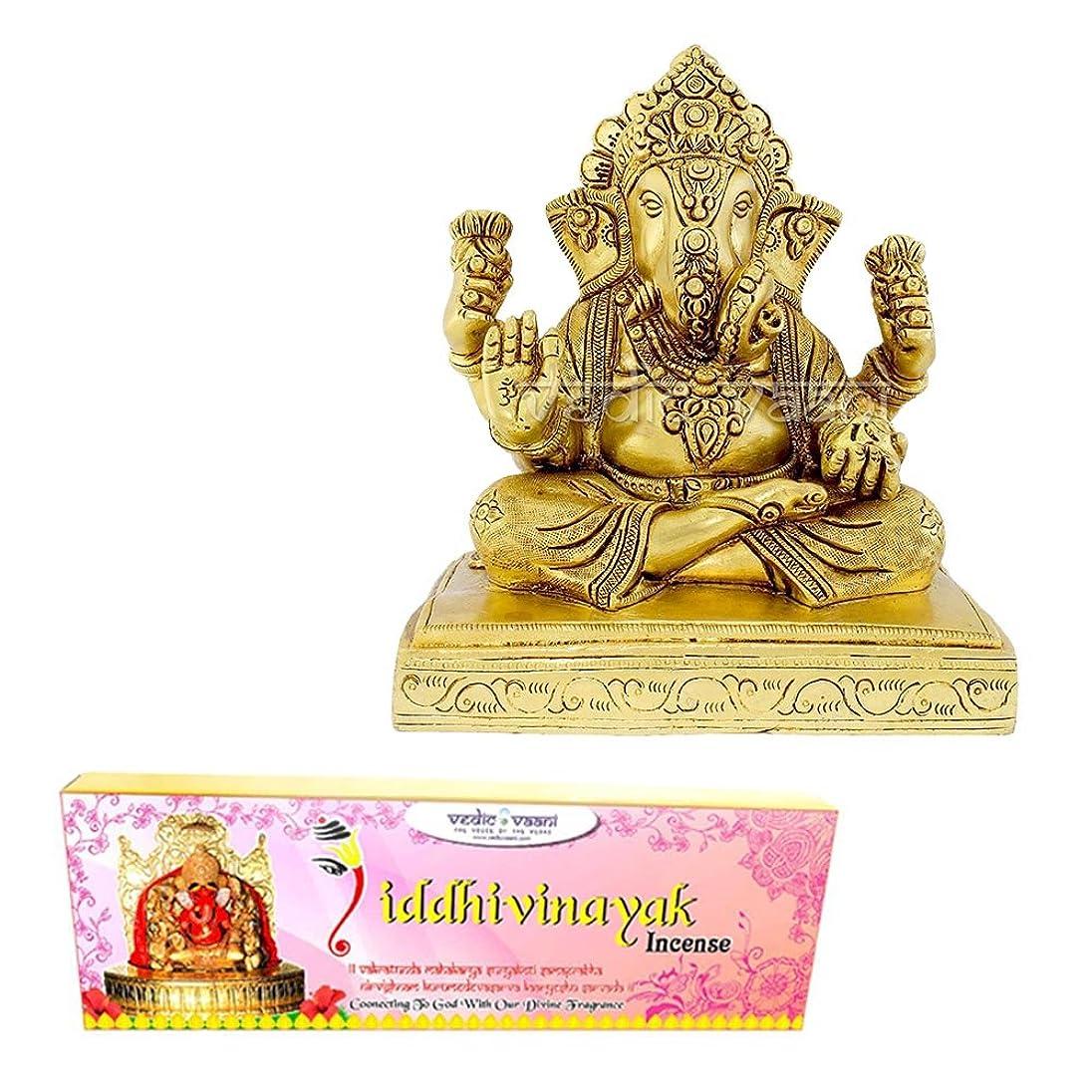 の頭の上ミットエールVedic Vaani Dagadusheth Ganpati Bappa Fine Idol In Brass With Siddhi Vinayak Incense