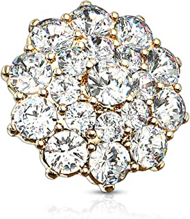 14G CZ Paved Double Tier Round CZ Flower 316L Surgical Steel Internally Threaded Dermal Anchor Top