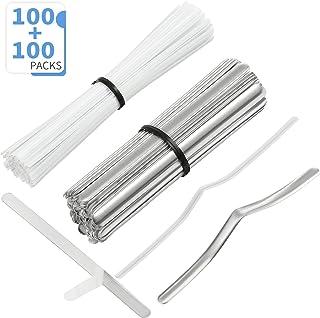 100 Piezas Tiras de Aluminio de Puente de Nariz Planas Adhesivas y 100 Piezas Precintos Blancos Tiras de Metal Alambres de Nariz para Manualidades