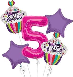 Happy Birthday Balloon Bouquet 5th Birthday 5 pcs - Party Supplies