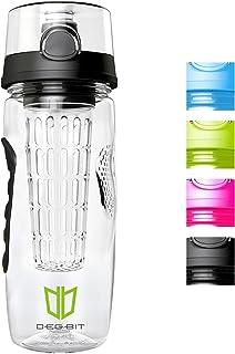 Degbit Botella, Plástico ecológico y sin BPA Botella de Agua, Aprox. 1L bpa Free Botella Agua Deporte, tritan Botella Reutilizables con Infusor de Esencia de Frutas + Filtro ProtectorLibre de Toxinas